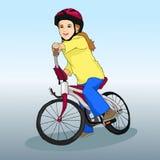Маленькая девочка едет велосипед Резвит образ жизни хобби иллюстрация s детей Стоковые Фотографии RF