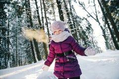 Маленькая девочка играя в лесе зимы Стоковые Изображения RF