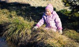 Маленькая девочка играя в природе Стоковое фото RF