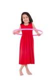 Маленькая девочка играя при обруч hula изолированный сверх Стоковые Изображения RF