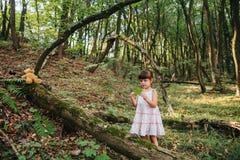 Маленькая девочка играя с ее медведем в лесе Стоковые Изображения RF