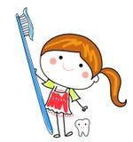 Маленькая девочка и зубная щетка бесплатная иллюстрация