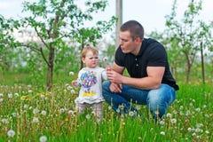 Маленькая девочка и отец играют на зеленом луге Стоковая Фотография