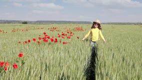 Маленькая девочка идя через пшеничное поле сток-видео
