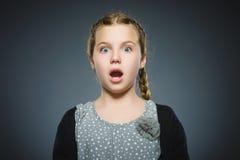 Маленькая девочка крупного плана вспугнутая и сотрясенная Человеческое выражение стороны эмоции стоковое изображение rf