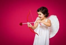 Маленькая девочка купидона Стоковое Изображение