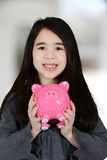 Девушка с банком стоковое фото rf