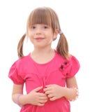 Маленькая девочка на белой предпосылке Стоковое Изображение