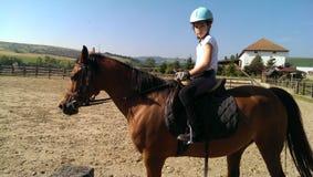 Маленькая девочка на задней части лошади Стоковые Изображения