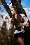 Маленькая девочка на поле лета в национальной Беларуси одевает, fas Стоковое Фото