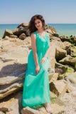 Маленькая девочка на пляже лета Стоковое Изображение RF