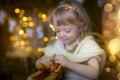 Маленькая девочка на Рожденственской ночи Стоковое Изображение RF