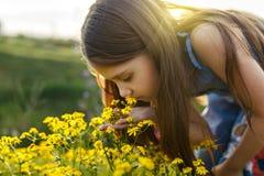 Маленькая девочка пахнуть желтым цветком Стоковое Изображение RF