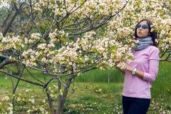 Маленькая девочка пахнуть маленьким деревом белых цветков Стоковые Фото