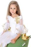 Маленькая девочка портрета милая выглядеть как изолированная принцесса Стоковая Фотография