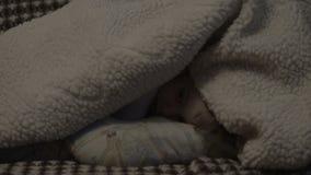 Маленькая девочка пряча под одеялом акции видеоматериалы