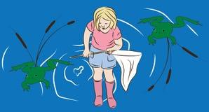 Маленькая девочка рыбной ловли лягушки иллюстрация штока