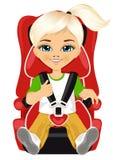 Маленькая девочка связанная к автокреслу Стоковое Изображение