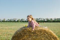Маленькая девочка сидя на стоге сена в поле Стоковое Фото