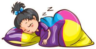Маленькая девочка спать обоснованно Стоковые Изображения RF