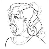 Маленькая девочка строго плача, человеческие эмоции Стоковое фото RF