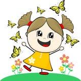 Маленькая девочка с бабочками иллюстрация вектора