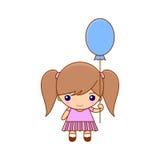 Маленькая девочка с воздушным шаром и милым платьем Стоковая Фотография RF
