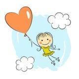 Маленькая девочка с воздушным шаром сердца Стоковое Изображение