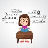 Маленькая девочка с левым и правым мозгом действует значок иллюстрация вектора