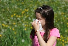 Маленькая девочка с длинными коричневыми волосами с аллергией к травам дует Стоковые Изображения