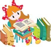 Маленькая девочка с книгами Стоковое Фото
