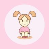 Маленькая девочка с отрезками провода сидит на ночном горшке Стоковые Фото