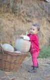 Маленькая девочка с тыквой Стоковое Изображение