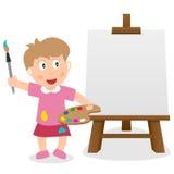 Маленькая девочка с холстом & Paintbrush мольберта бесплатная иллюстрация