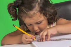 Маленькая девочка учит Стоковые Изображения
