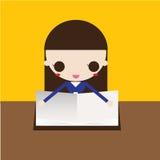 Маленькая девочка читая книгу Иллюстрация штока