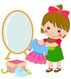 Маленькая девочка шаржа и ее подарок Стоковая Фотография RF
