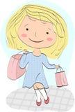Маленькая девочка (shopaholic) возвращает домой с выгодским приобретением Стоковые Изображения RF