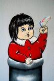 Маленькая девочка Streetart Стоковое Фото