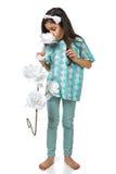 Маленькая девушка брюнет в izolated pidjama pyjamas Стоковые Изображения RF