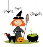 Маленькая девушка ведьмы иллюстрация вектора