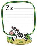 Маленькая зебра для ABC алфавит z Стоковое Изображение