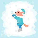 Маленькая лиса улавливает снежинку в иллюстрации вектора леса План совершенн для крышек и открыток дизайна Стоковое Фото