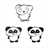 Маленькая панда, черно-белый логотип в форме панд Стоковые Фото
