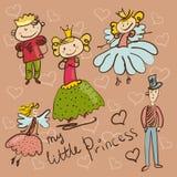 Маленькая принцесса и ее свита вручают иллюстрацию чертежа Стоковое Изображение RF