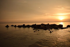 Маленькая птица лежа на комплекте утесов во время восхода солнца в Греции Стоковое фото RF