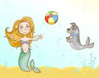 Маленькая русалка играя шарик с ее собакой бесплатная иллюстрация