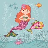 Маленькая русалка и большие рыбы Стоковые Изображения RF