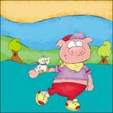 Маленькая свинья идет в парк Стоковые Изображения RF
