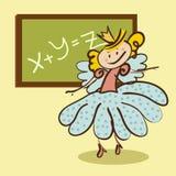Маленькая фея встречает урок от школьного правления Стоковые Фото
